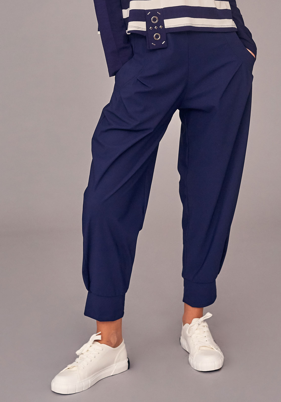 Naya Loose Fit Cropped Trousers, French Blue
