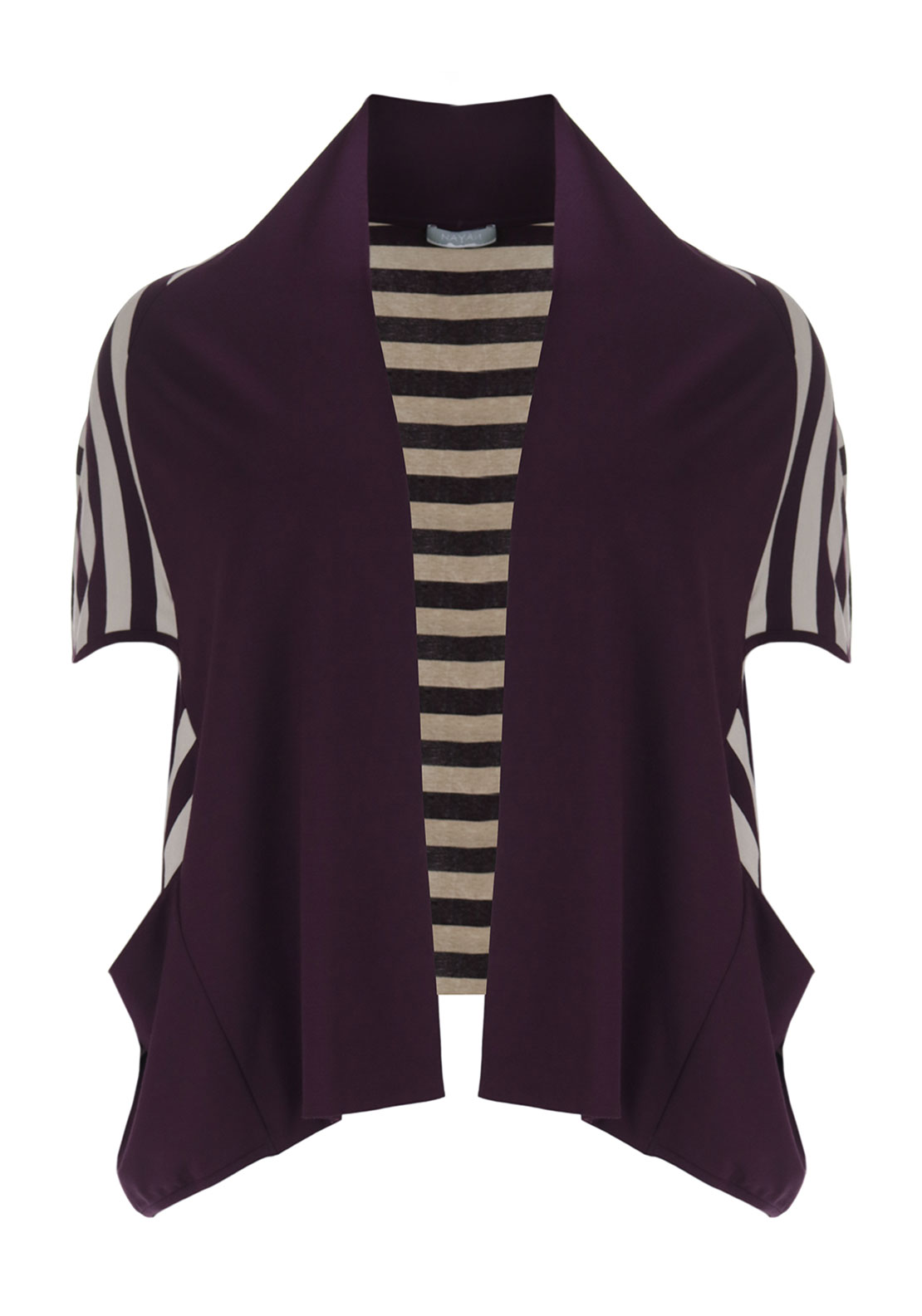 Naya Striped Relaxed Fit Cardigan, Purple and Cream