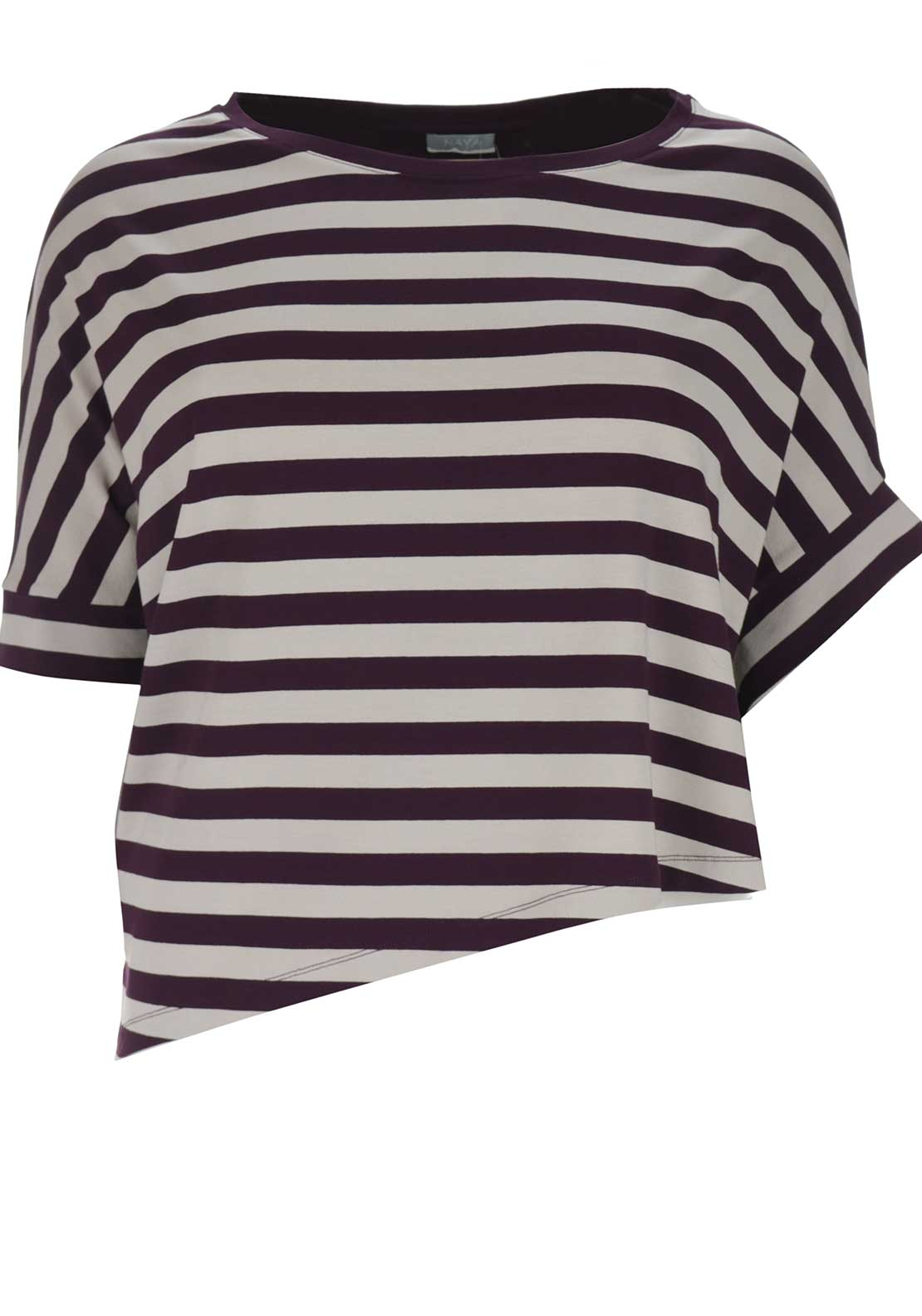 Naya Short Relaxed Fit Top, Purple and Cream