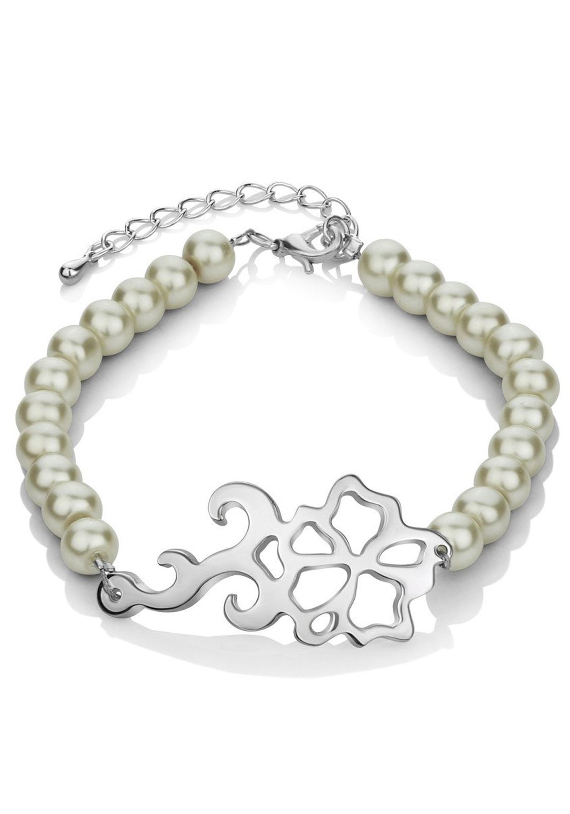 Newbridge Floral Beaded Bracelet, Cream