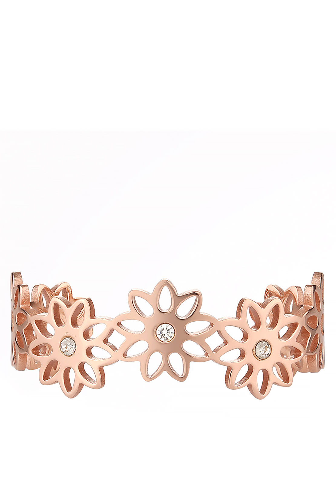 Newbridge Silverware Floral Bangle, Rose Gold