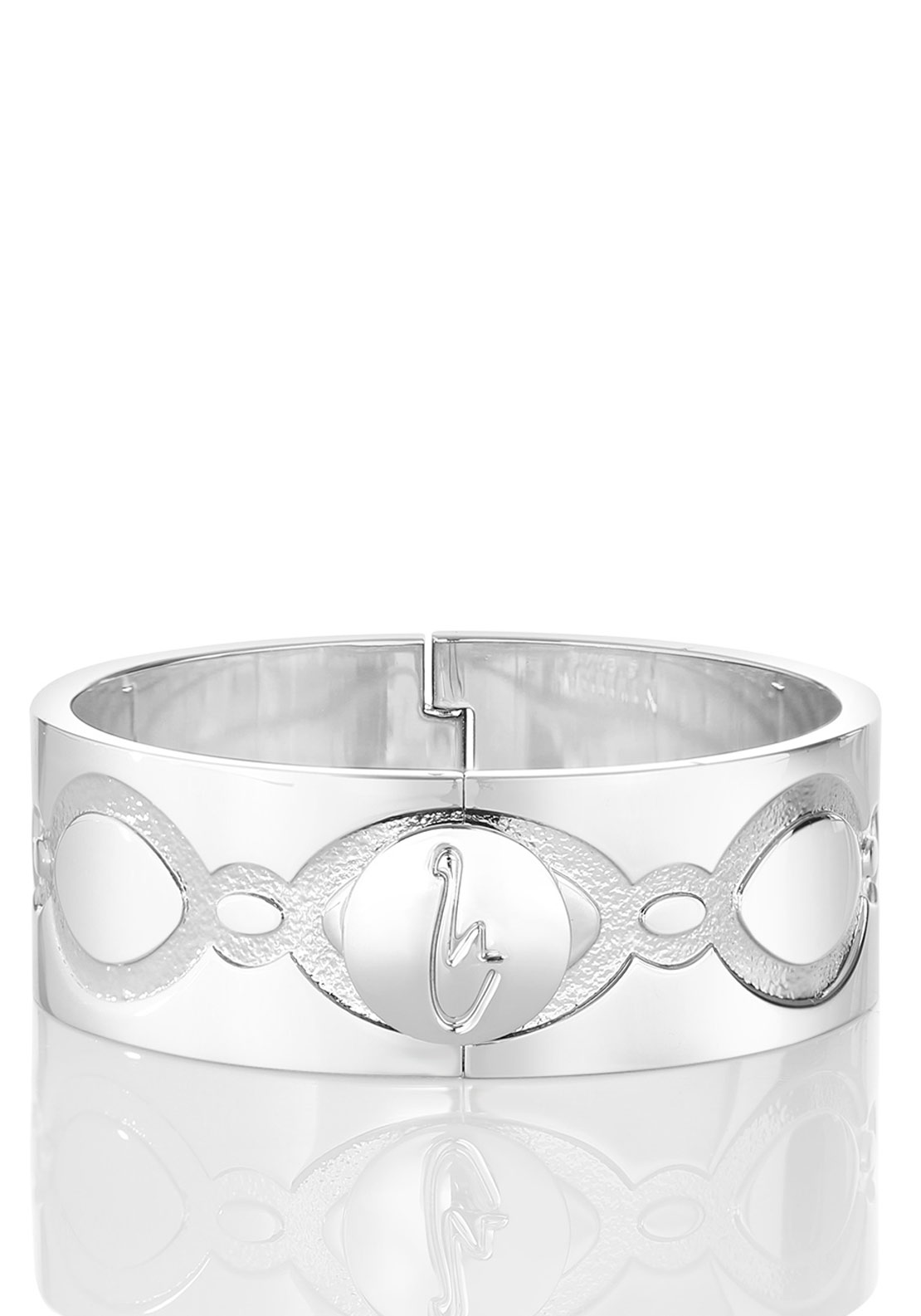 Newbridge Swan Rhodium Bangle, Silver