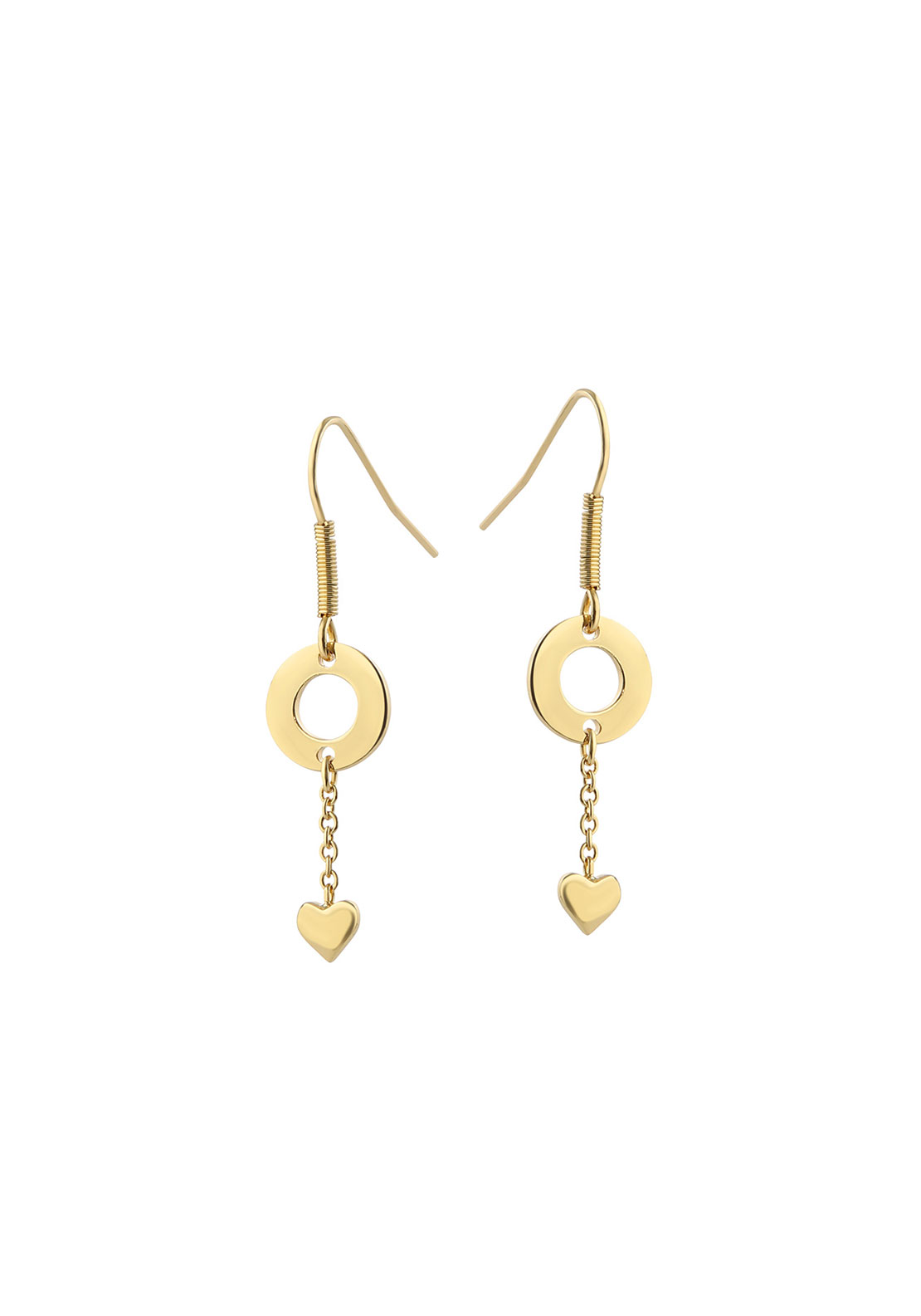 Newbridge Amy Heart Drop Earrings, Gold