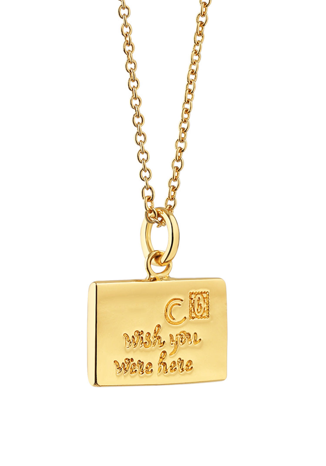 Newbridge Amy Message Pendant Necklace, Gold