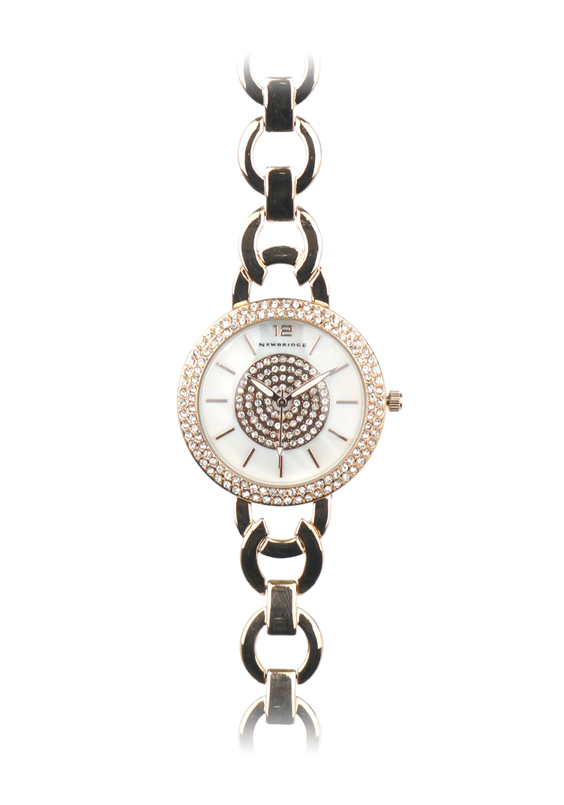 Newbridge White Round Face Ladies Watch, Rose Gold
