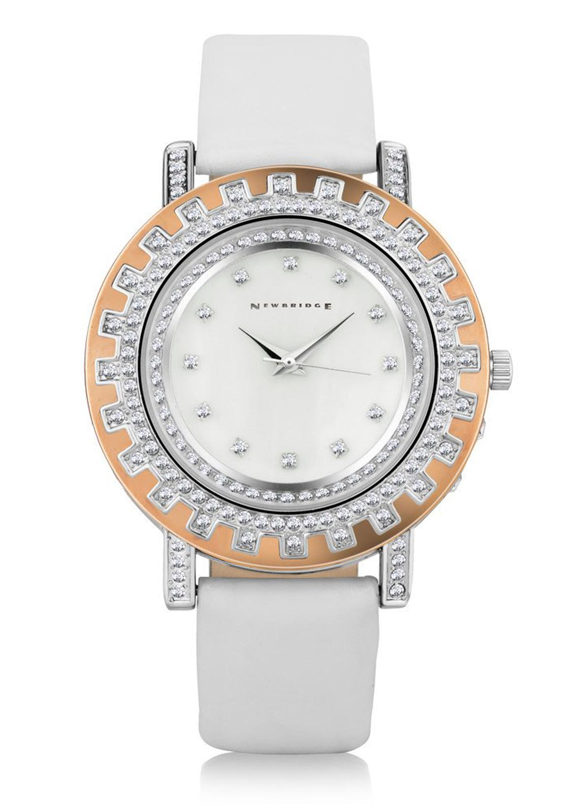 Newbridge Ladies Clear Stone Watch, White