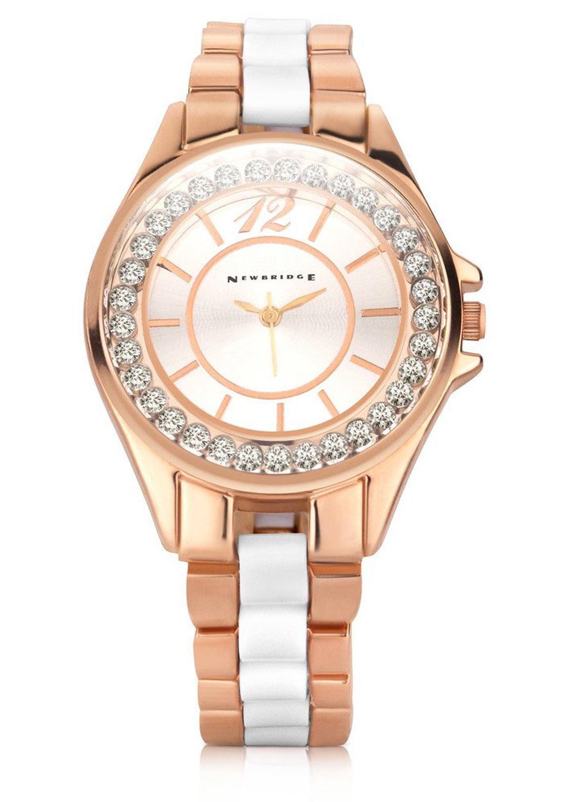 Newbridge Ladies Clear Stone Watch, Rose Gold