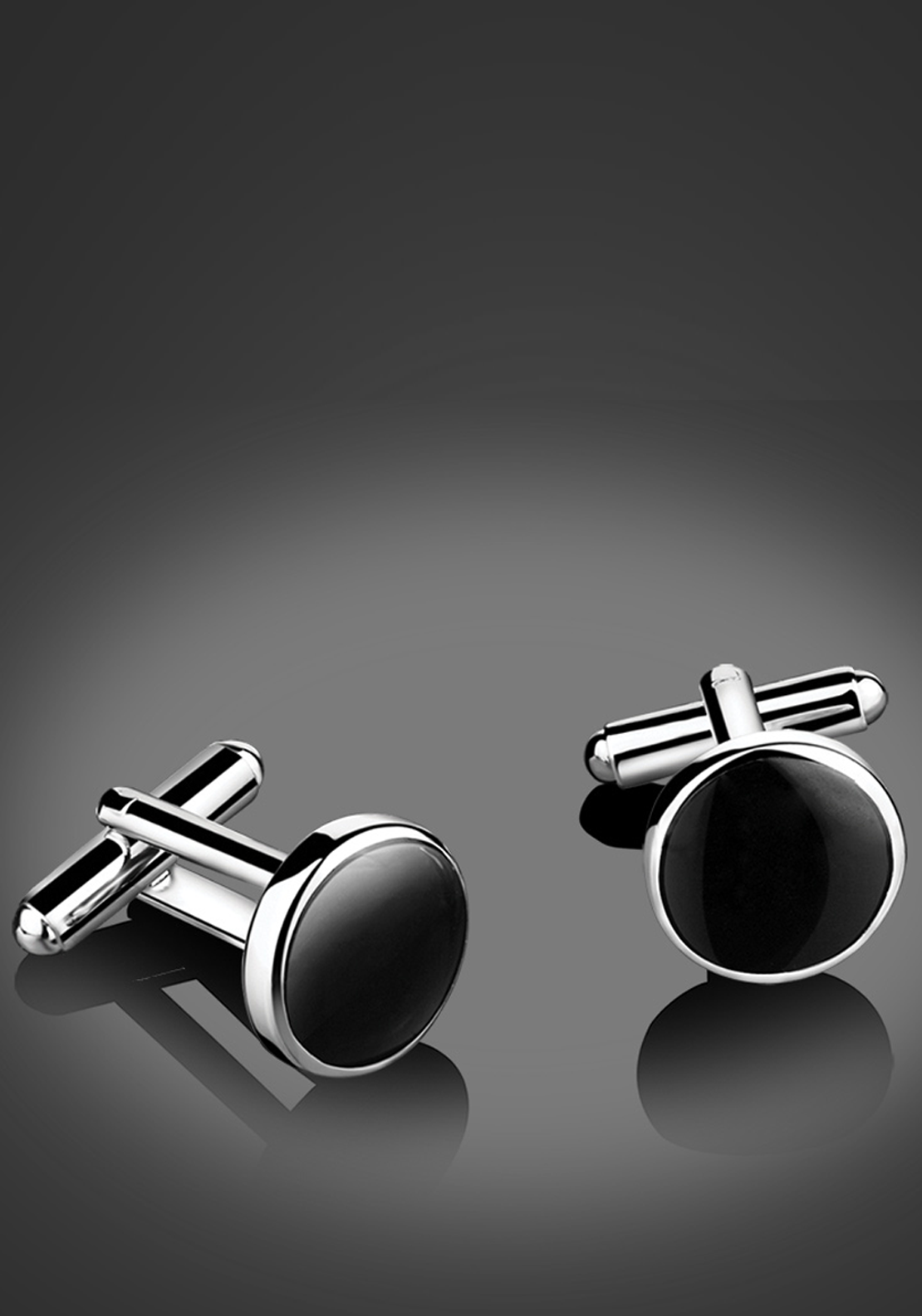 Newbridge Silverware Men Black Round Stone Cufflinks, Silver