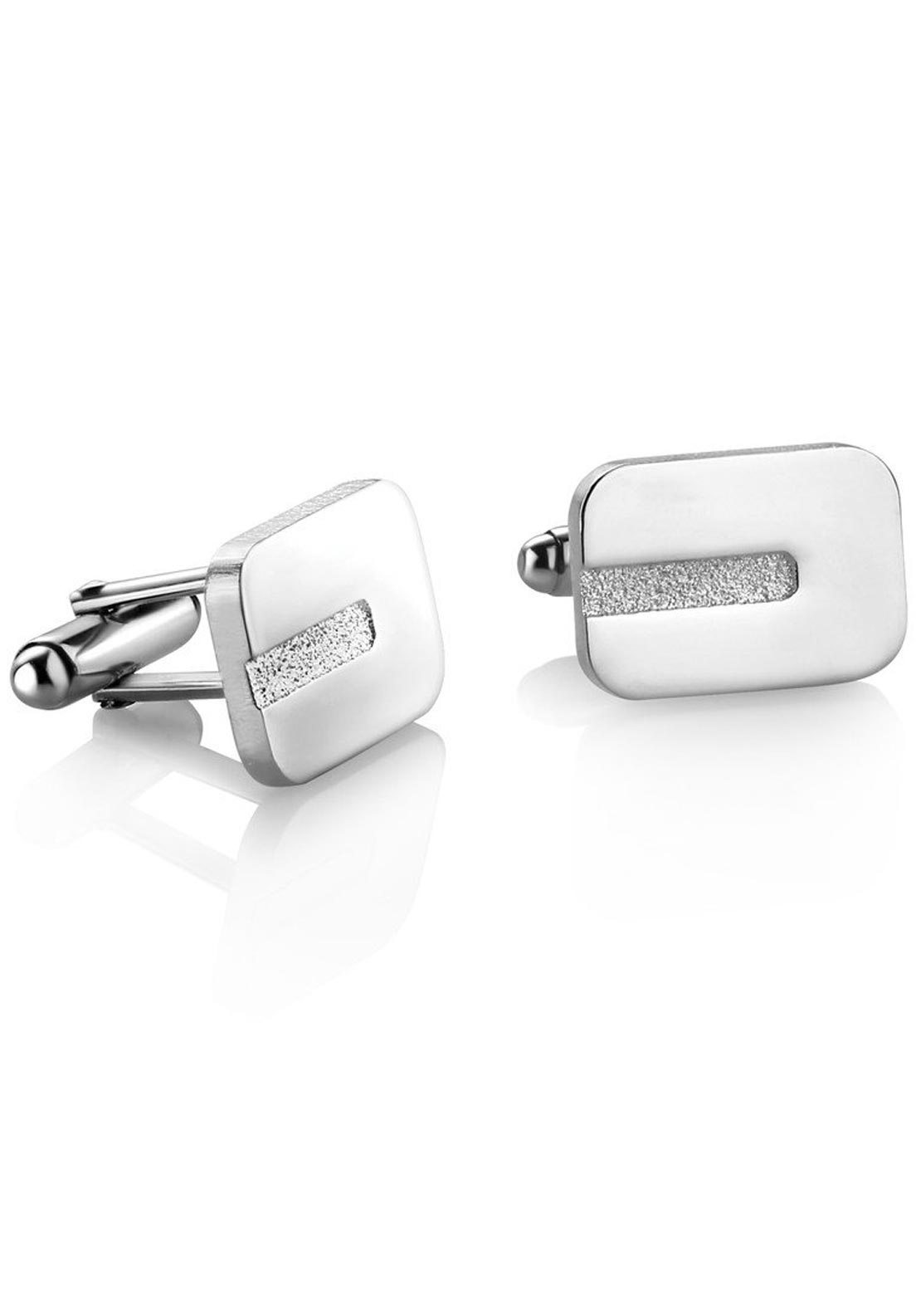 Newbridge Mens Rectangle Etched Cuff Links, Silver