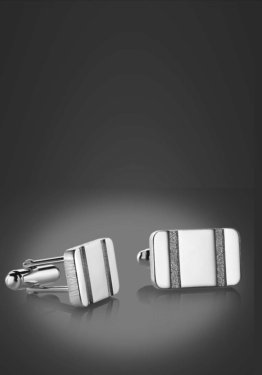 Newbridge Silverware Men Rectangle Etched Cufflinks, Silver
