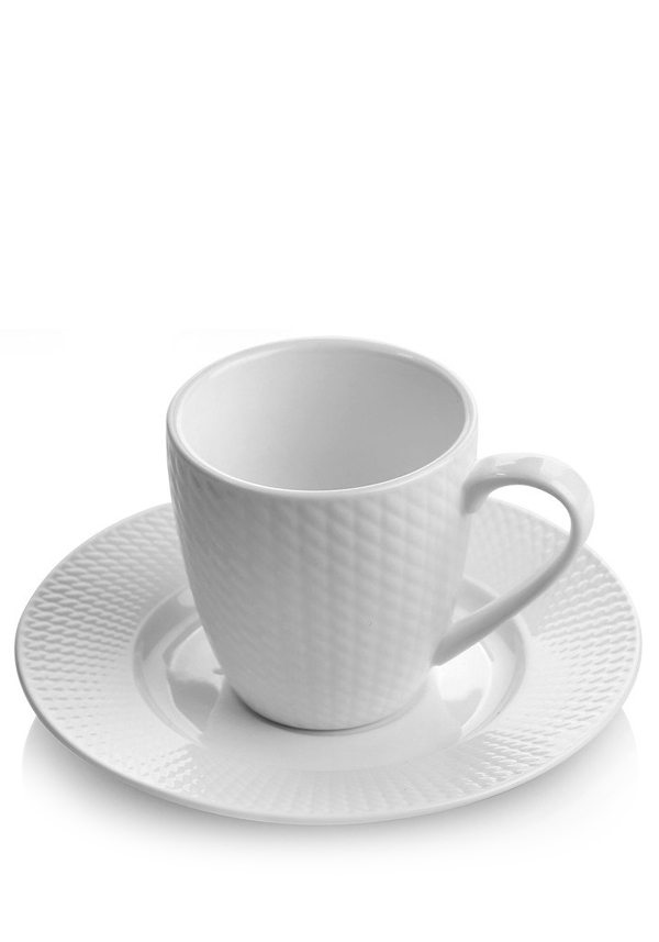 Newbridge Home Whiteware Cups and Saucers, set of 4