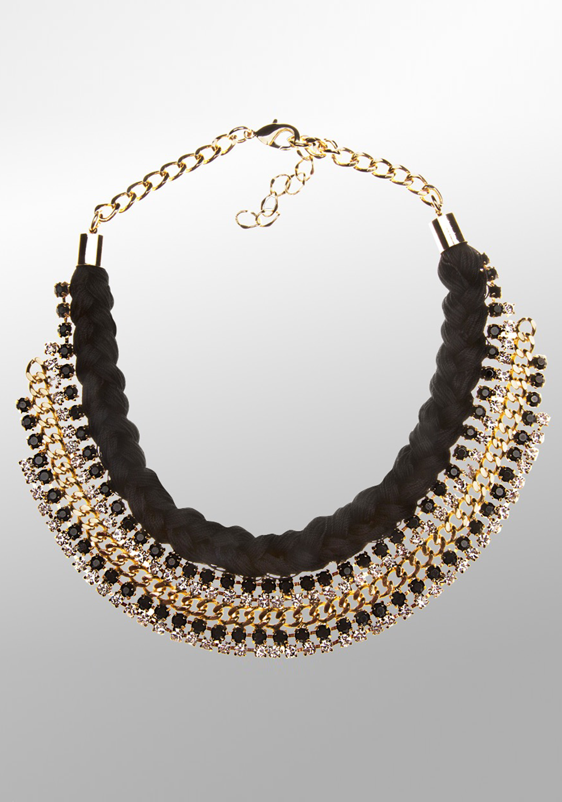 Newbridge eShe Weave Necklace with Black & Clear Stone Setting, Black