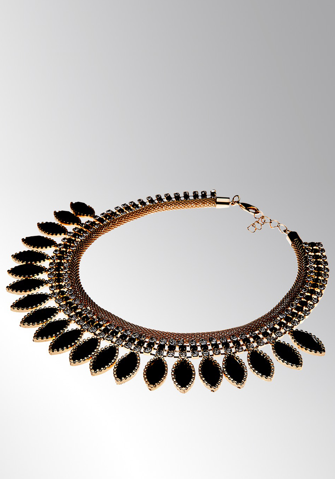 Newbridge eShe Gold Tone Necklace with Black Stones, Gold
