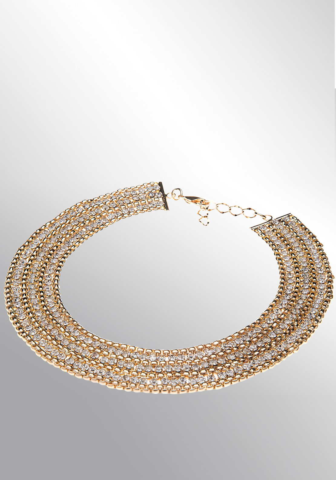 Newbridge eShe Collar Style Neckpiece with Clear Stone, Gold