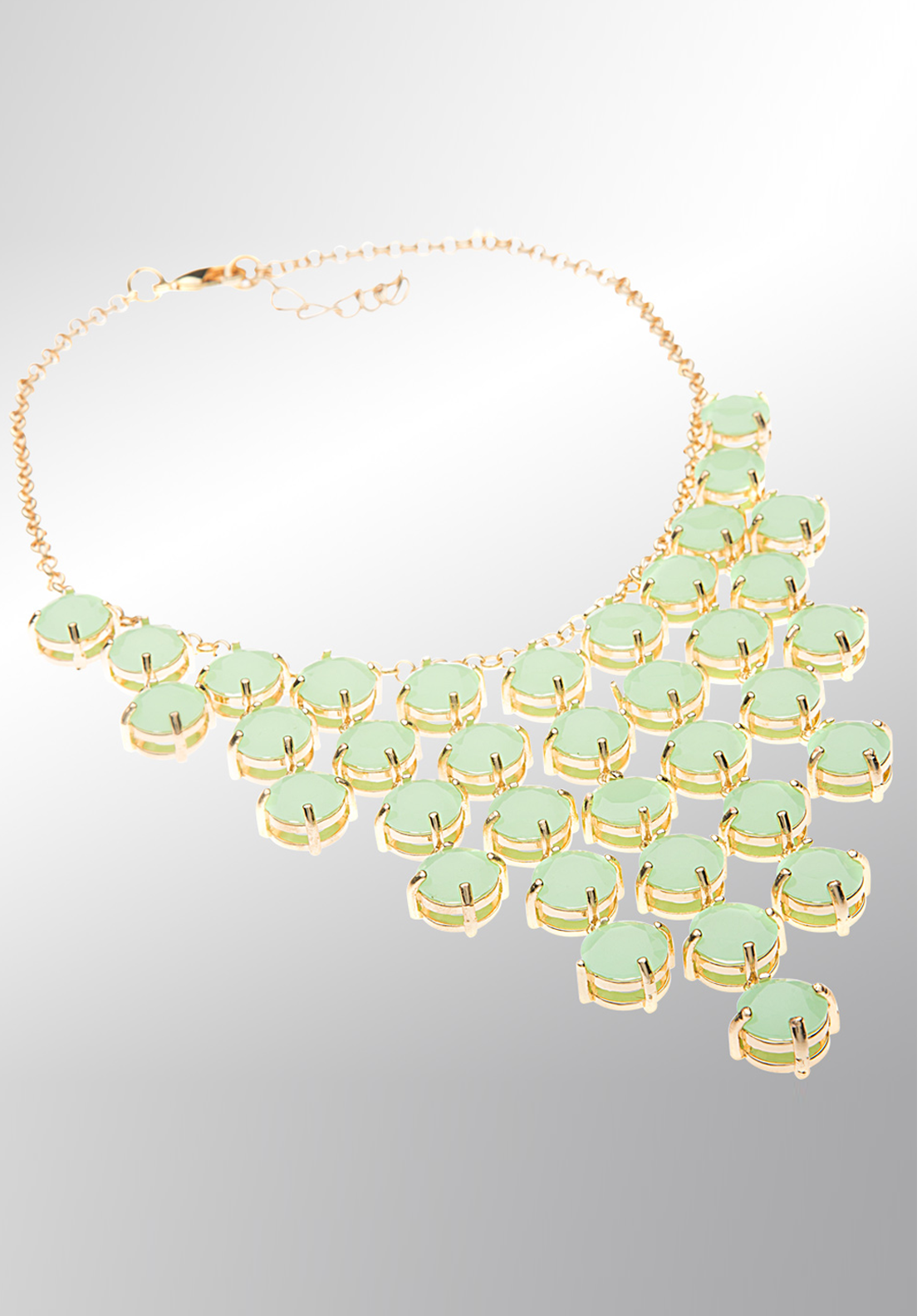Newbridge eShe Necklace with Green Stones, Gold