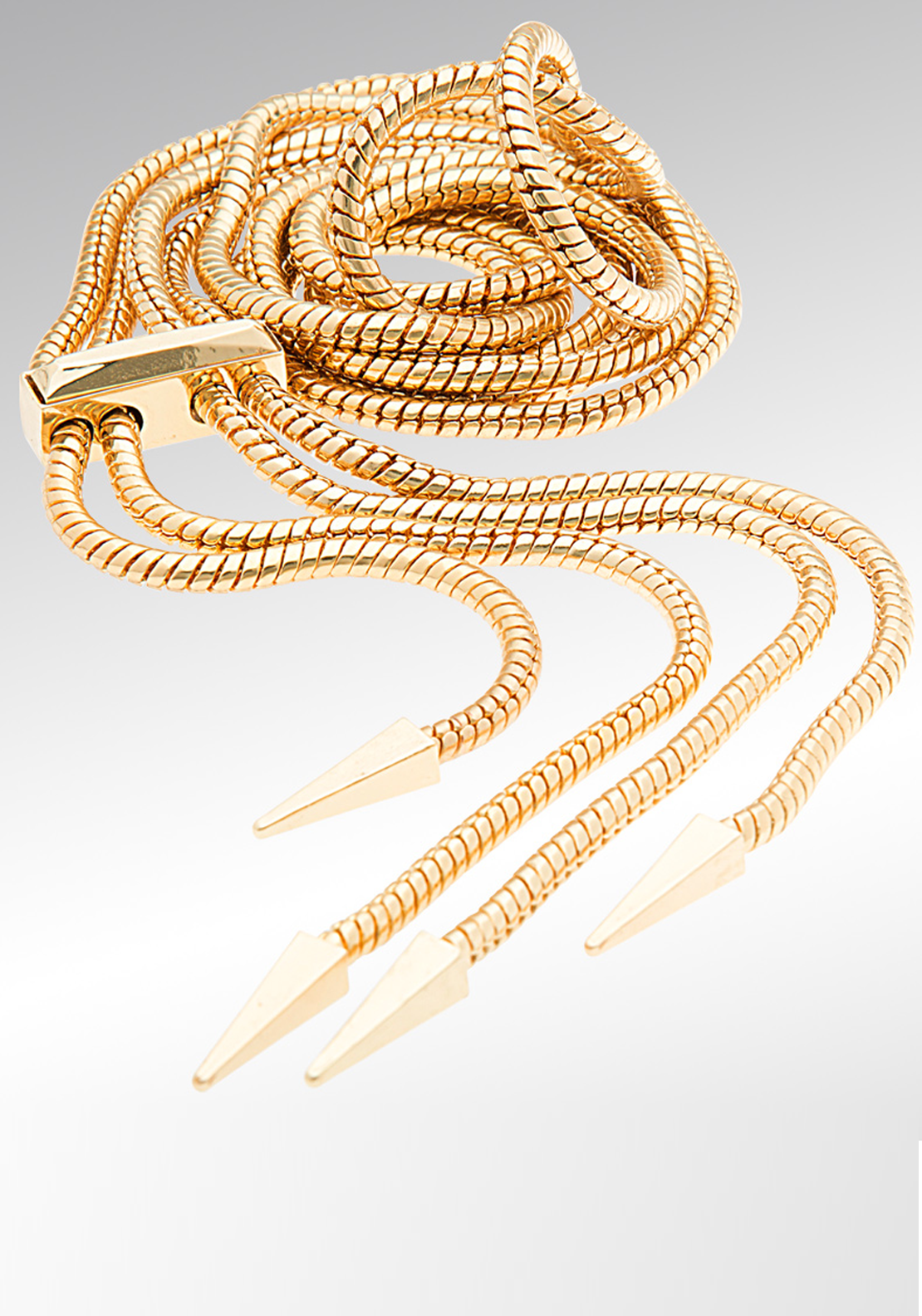 Newbridge eShe Long Necklace with Spike Ends, Gold