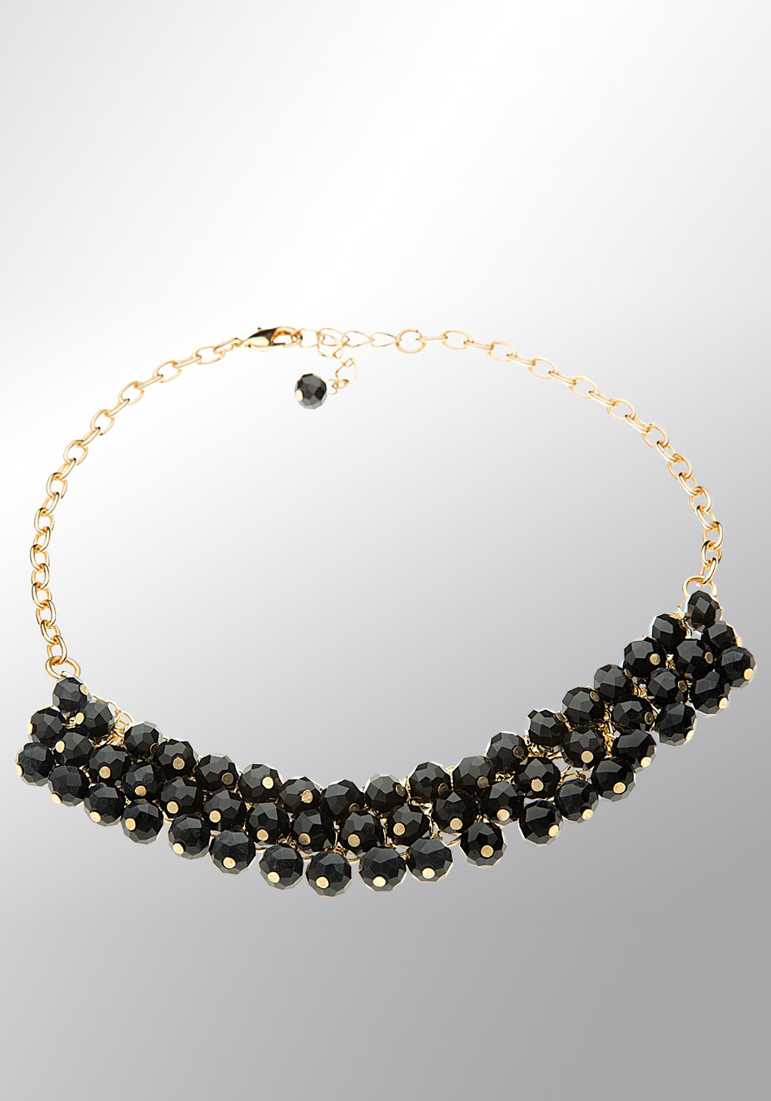Newbridge eShe Gold Tone Black Bead Necklace, Black