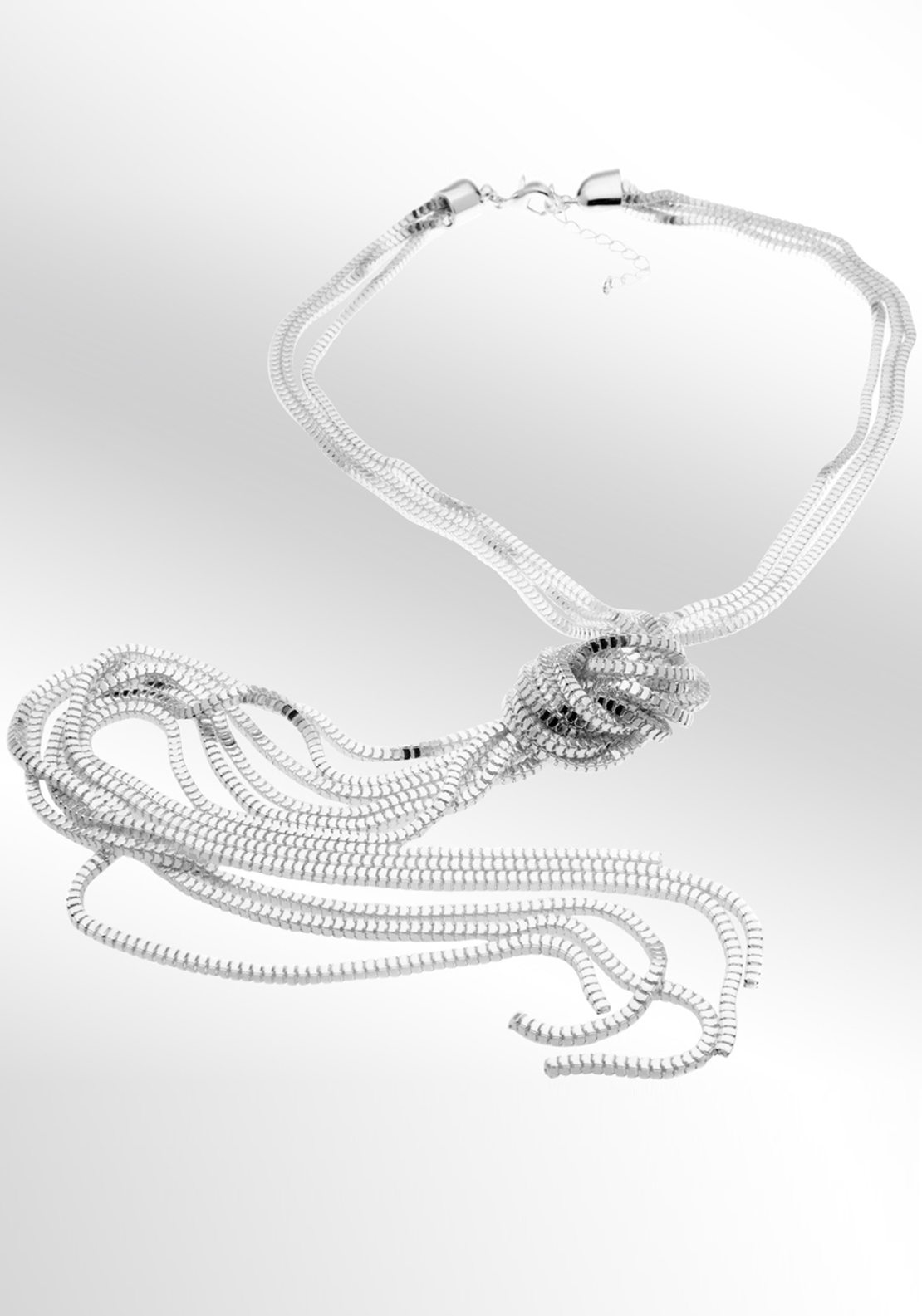 Newbridge eShe Knotted Necklace, Silver