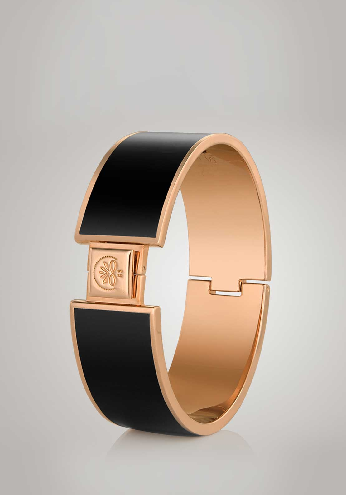 Newbridge Ti Amo Large Black Bangle, Champagne Gold