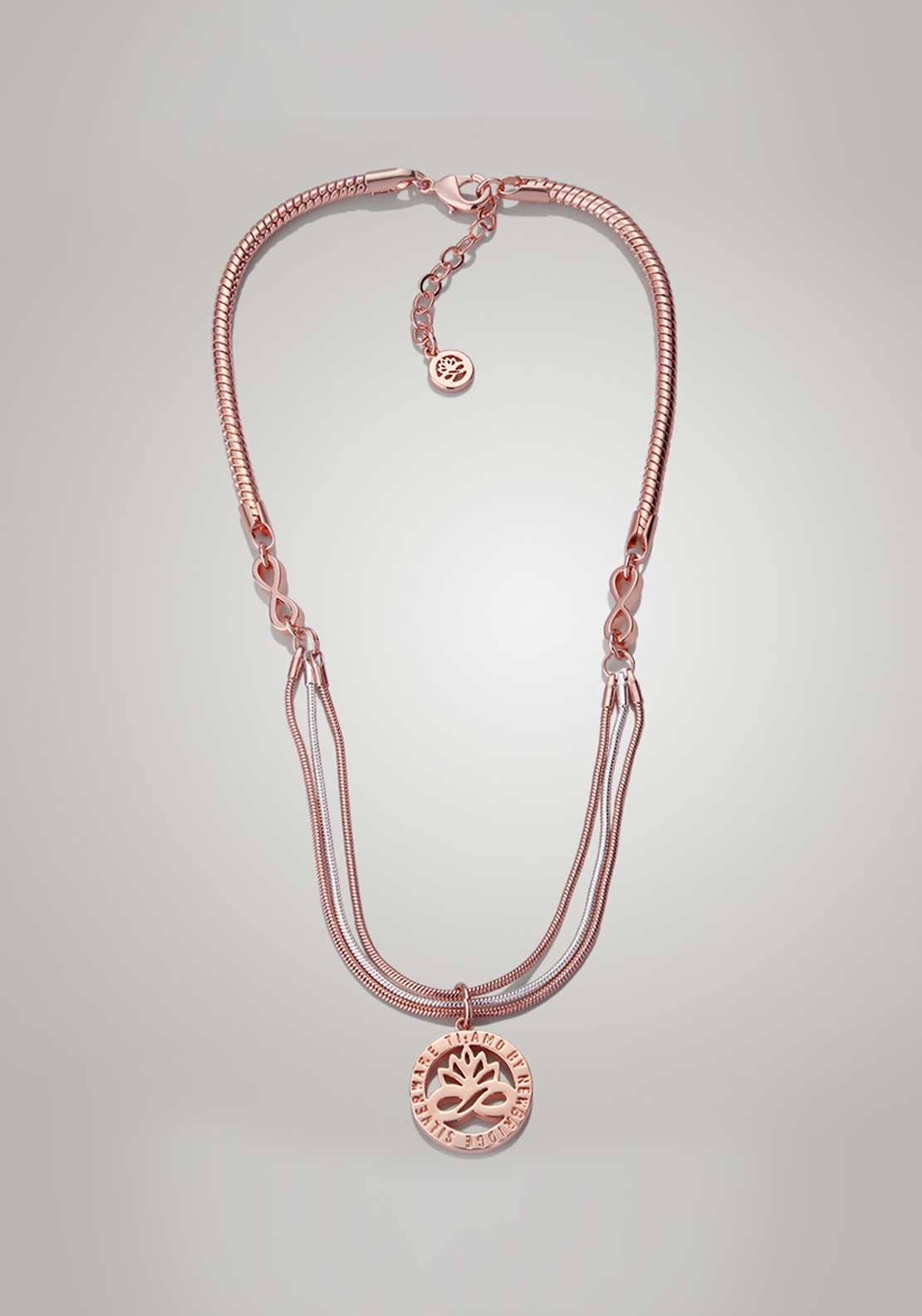 Newbridge Silverware Ti Amo Collection Rose Gold & Silver Plated Pendant
