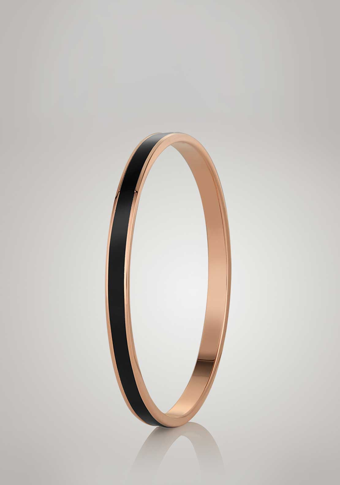 Newbridge Silverware Small Black Bangle, Rose Gold