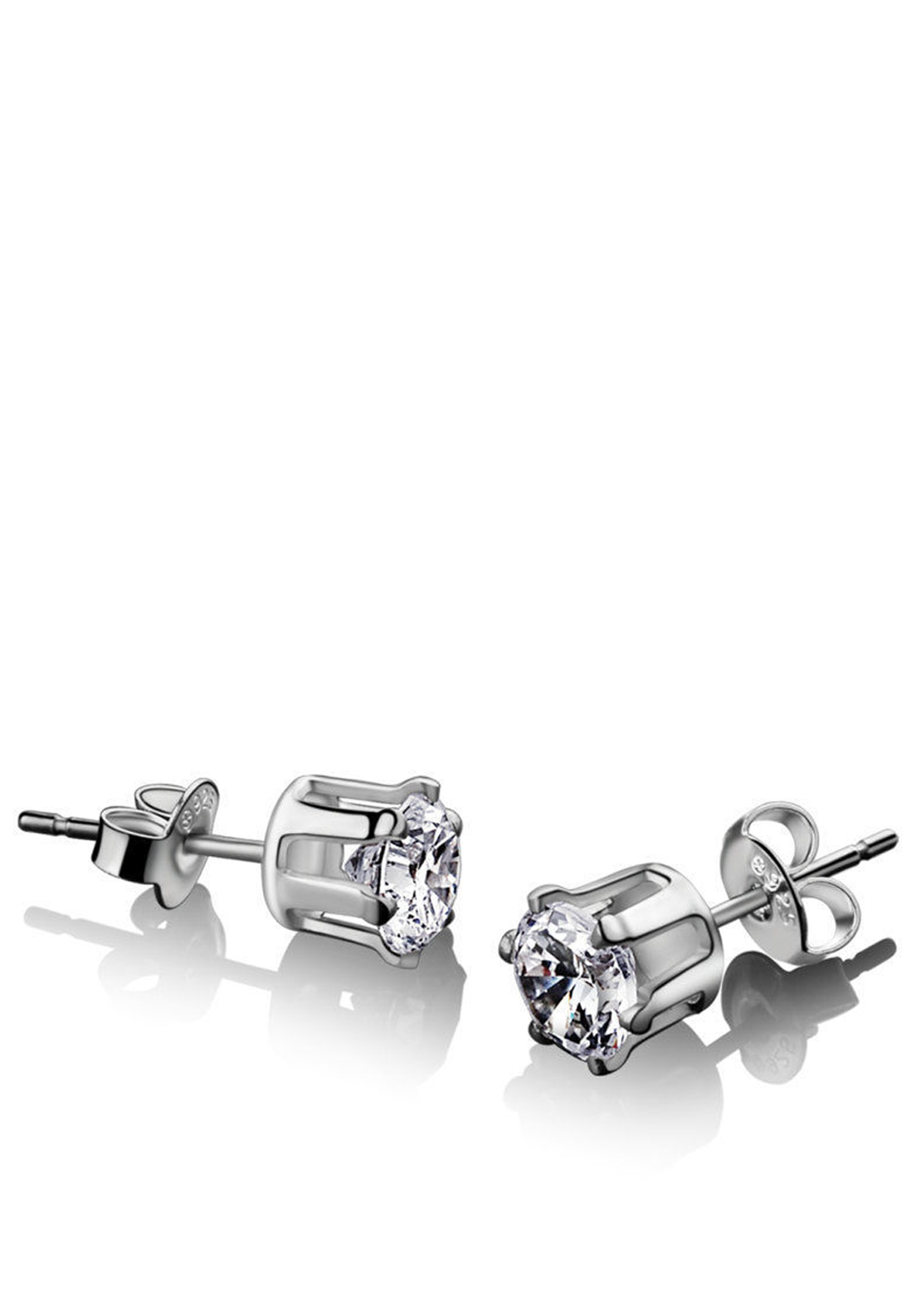 Newbridge Silverware Stud Earring Clear Stone 9mm