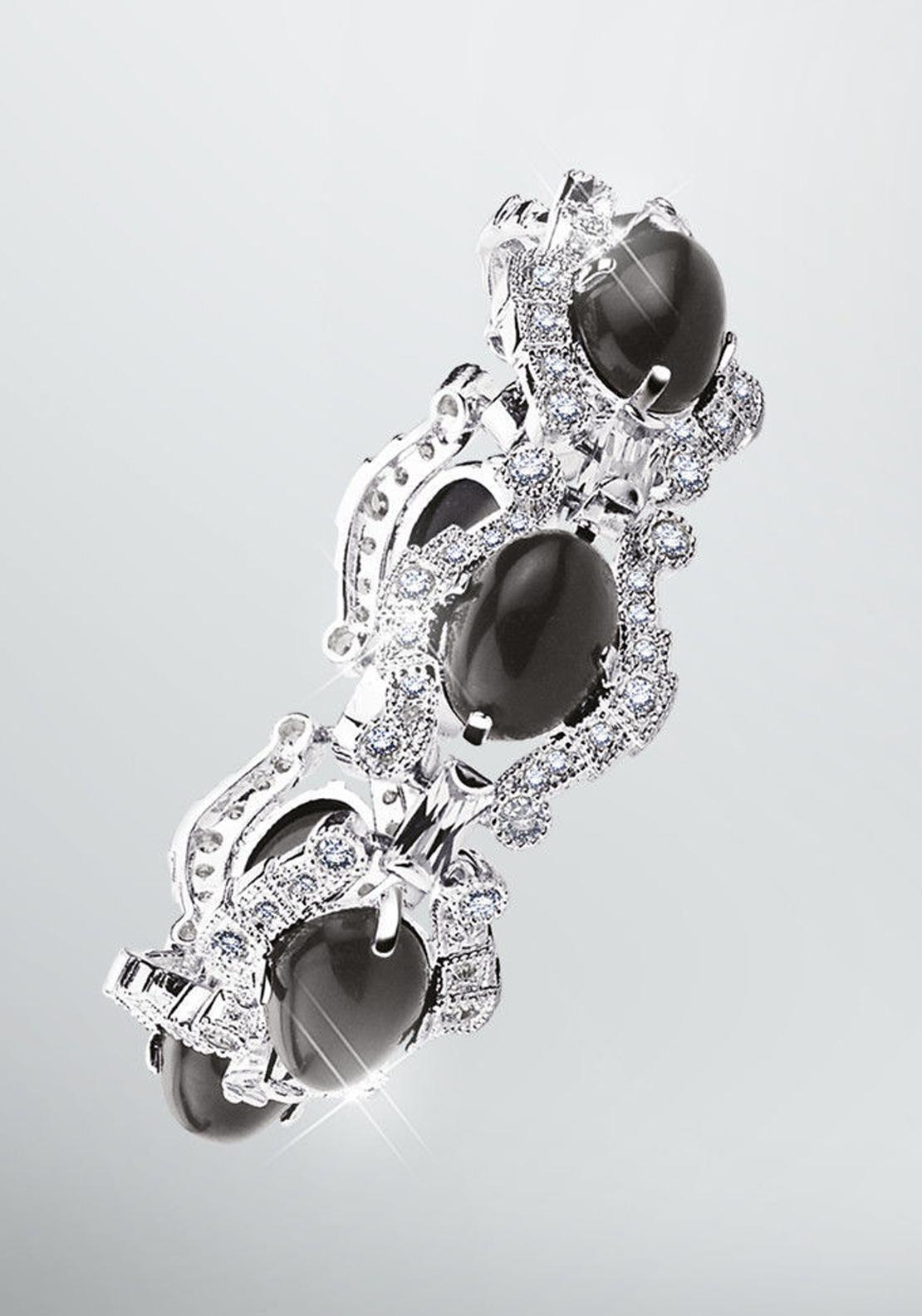 Newbridge Greta Garbo Pearl Bracelet, Crystal and Black