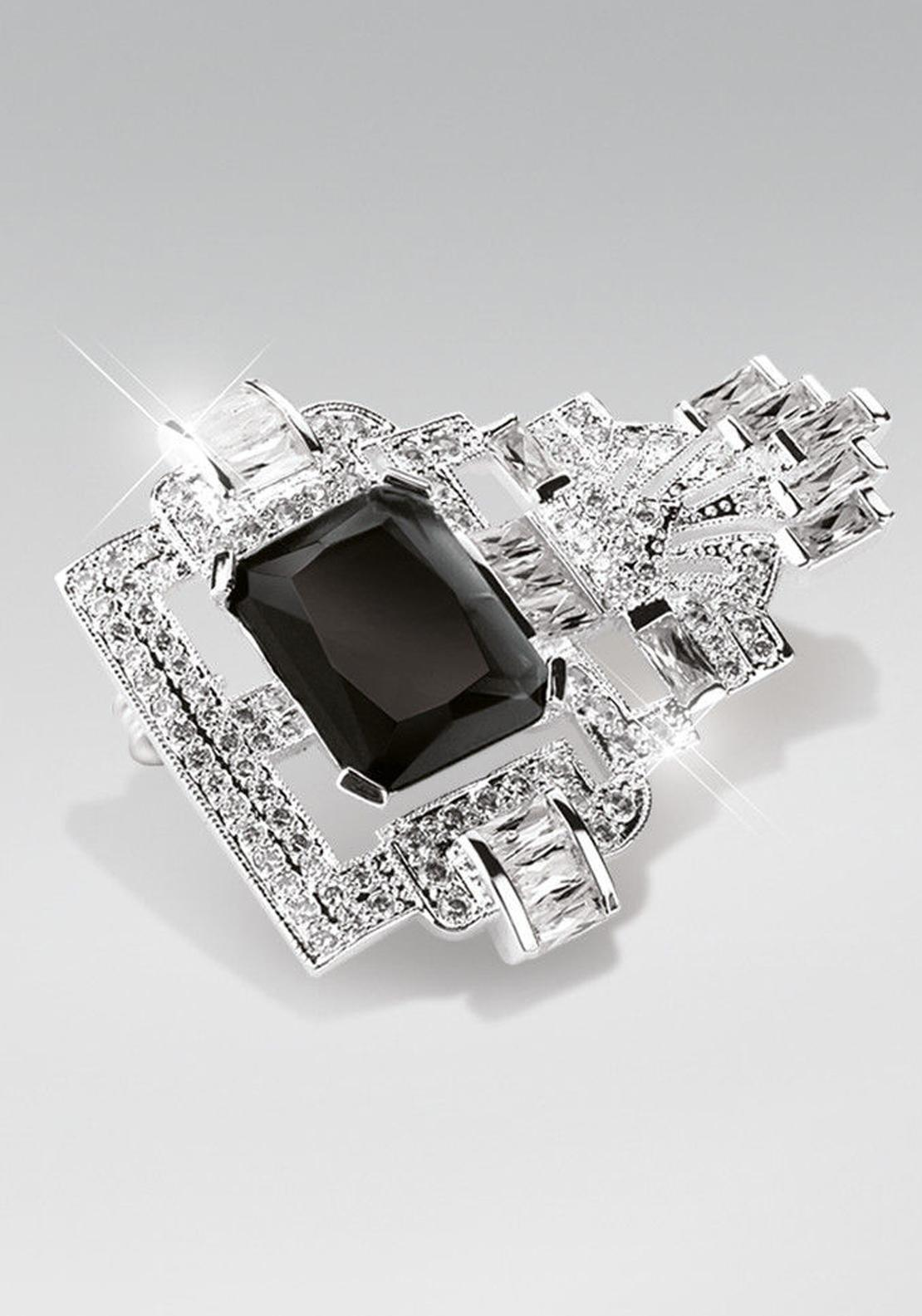 Newbridge Greta Garbo Brooch, Crystal and Black