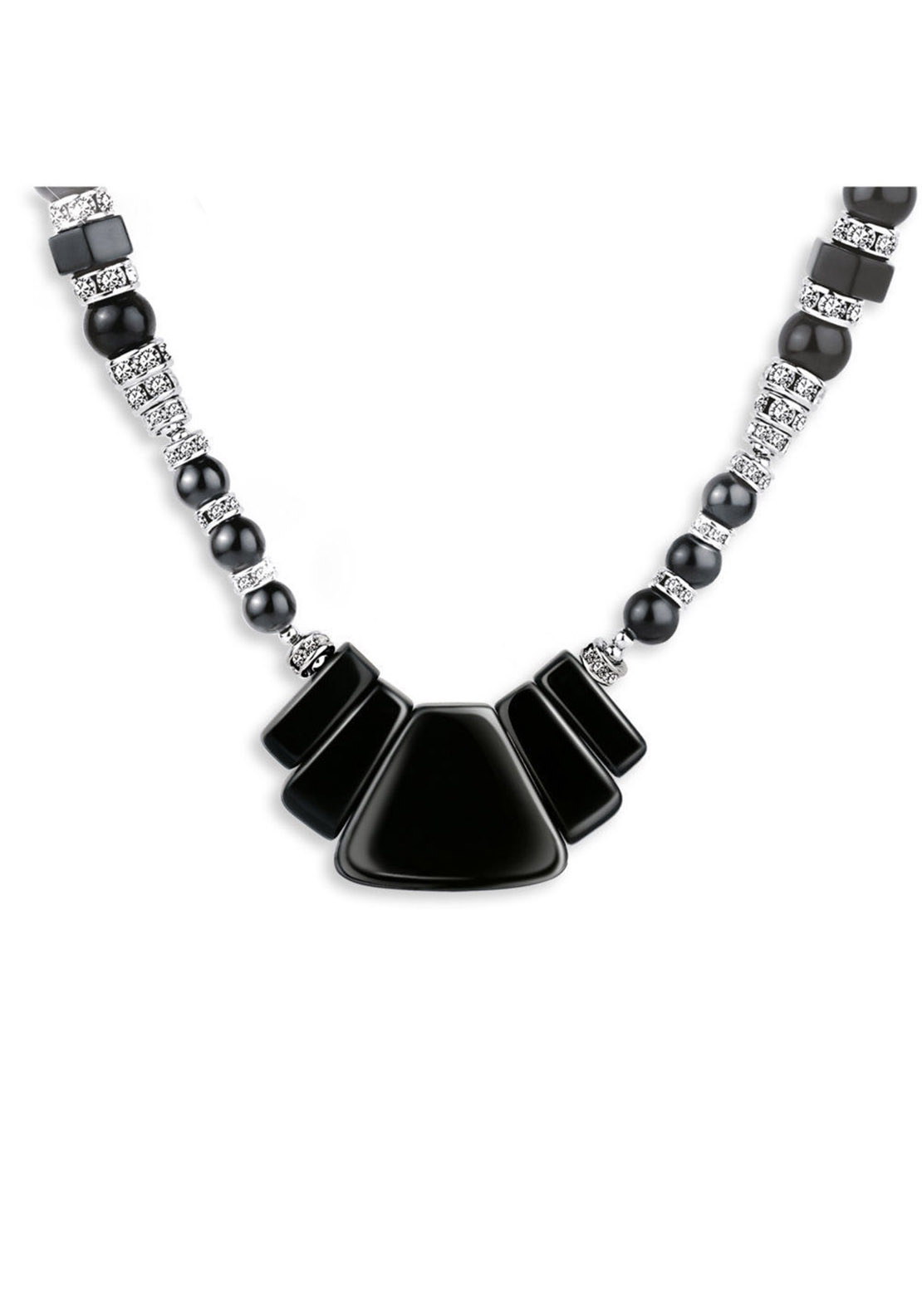 Newbridge Greta Garbo Art Deco Necklace, Black