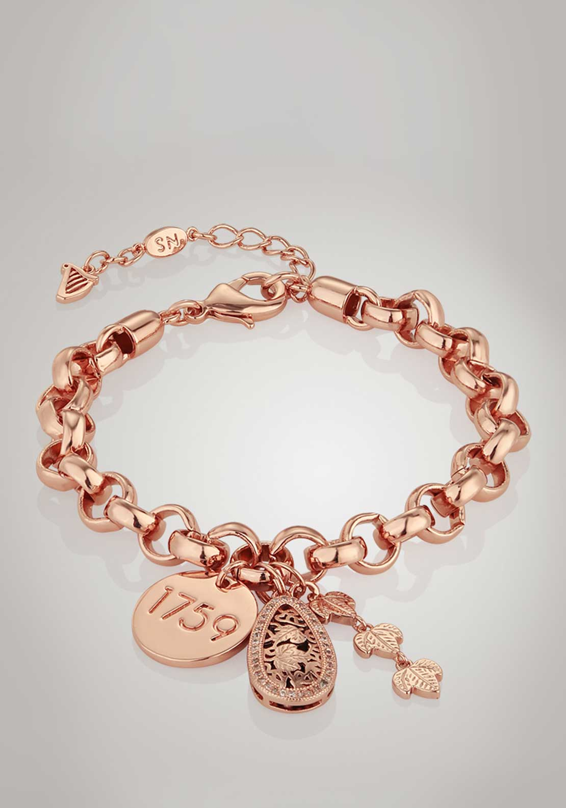 Newbridge Silverware Guinness Heavy Charm Bracelet, Rose Gold