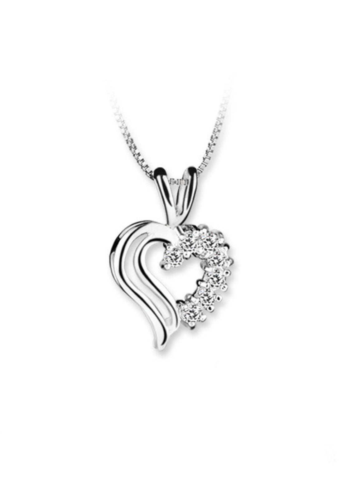 Newbridge Princess Double Heart Pendant Clear