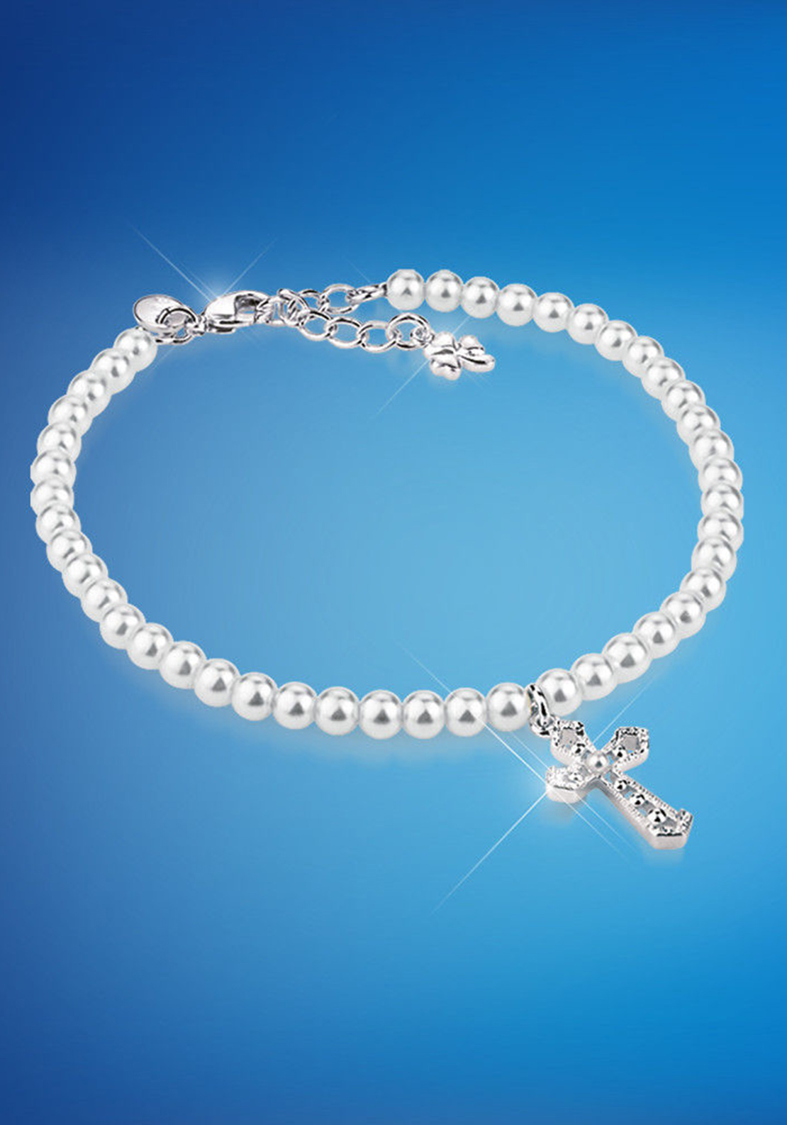 Newbridge First Holy Communion Bracelet with Cross, White