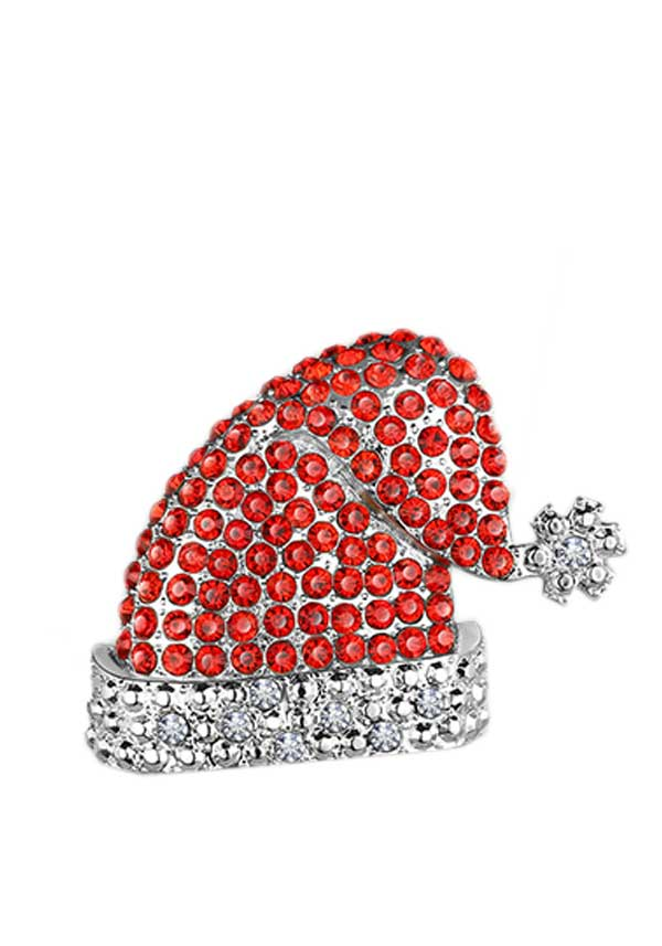 Newbridge Christmas Santa Hat Red Clear Stones Decoration