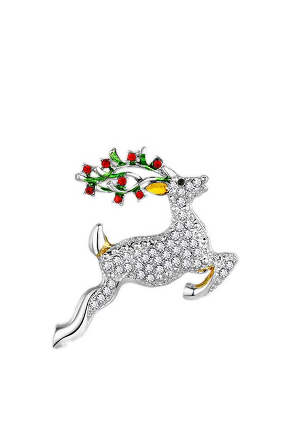 Newbridge Christmas Reindeer with Clear and Coloured Stones Decoration