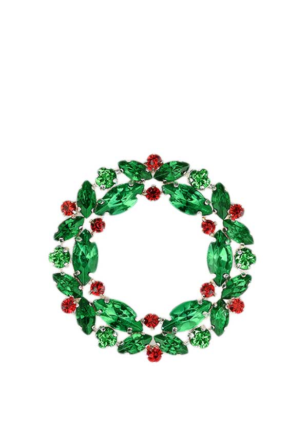Newbridge Christmas Christmas Wreath Decoration with Coloured Stones