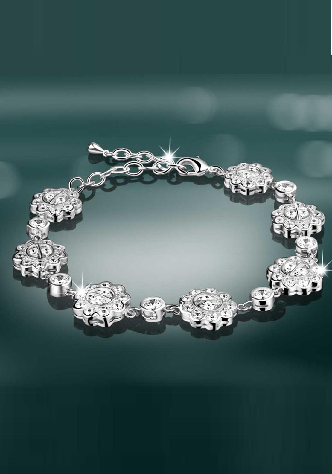 Newbridge Maureen O'Hara Crystal Bracelet, Silver / Clear