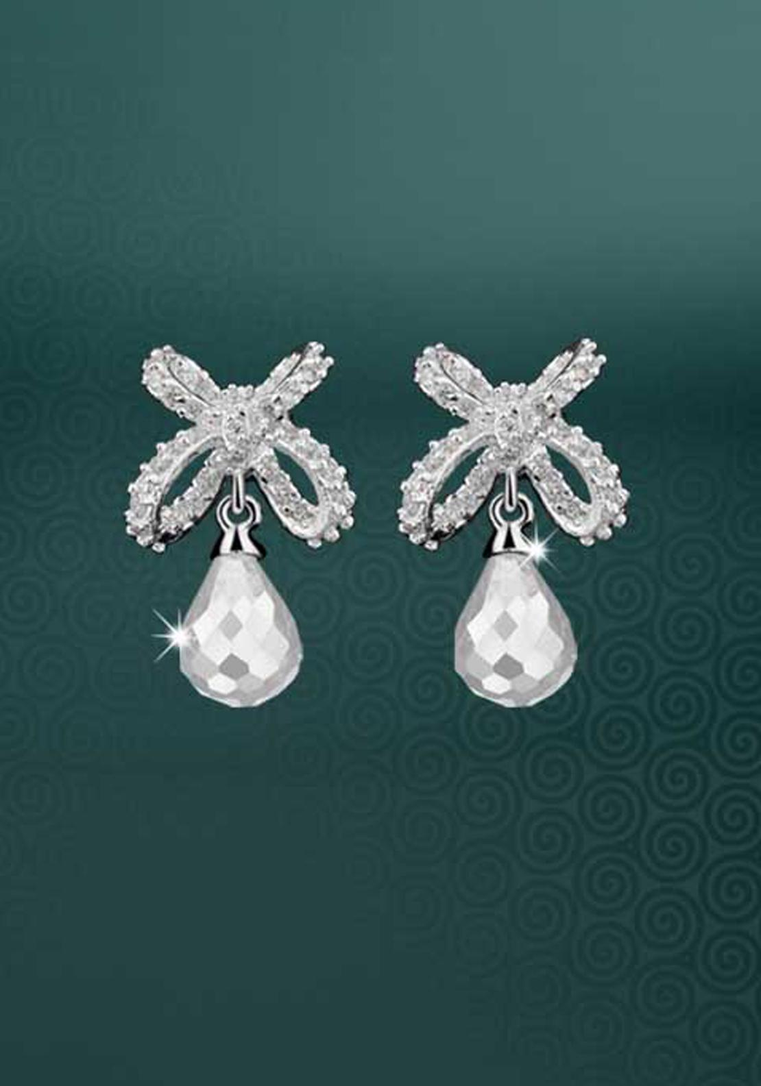 Newbridge Maureen O'Hara Drop Earrings, Silver / Clear