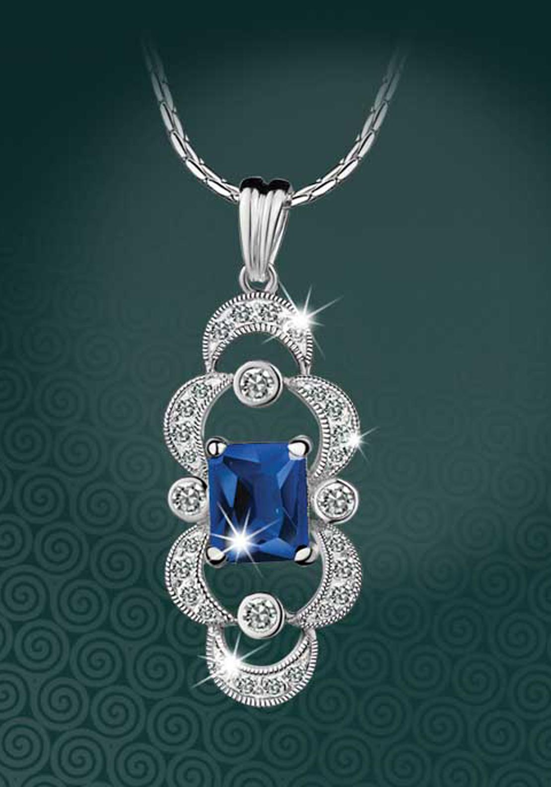 Newbridge Maureen O'Hara Crystal Pendant, Silver / Blue