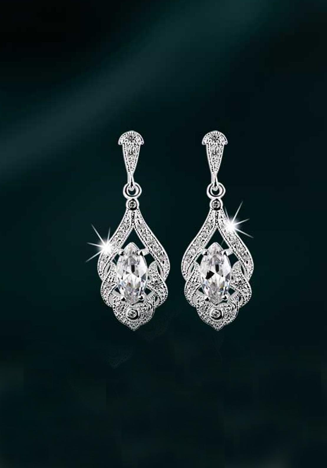 Newbridge Maureen O'Hara Drop Crystal Earrings, Silver / Clear