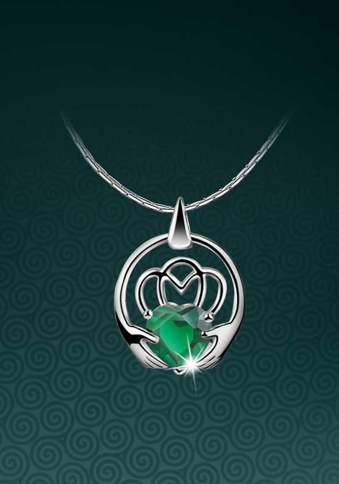 Newbridge Maureen O'Hara Claddagh Pendant, Silver / Green