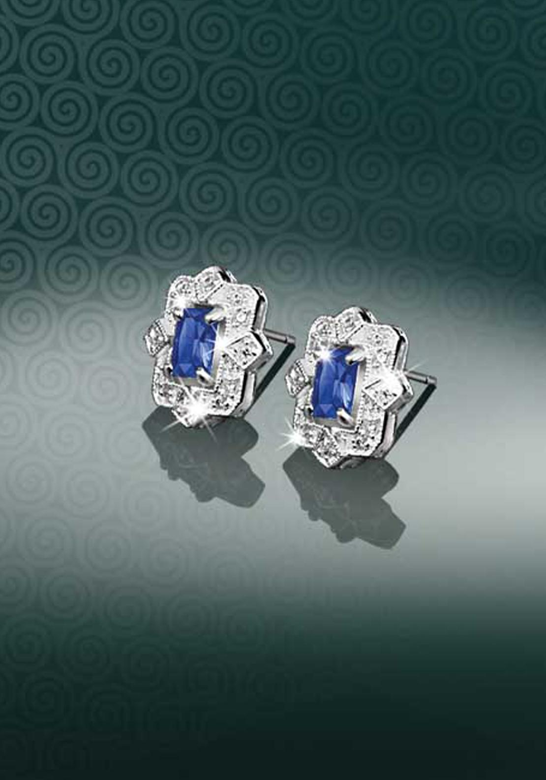 Newbridge Maureen O'Hara Crystal Earrings, Clear / Sapphire Blue