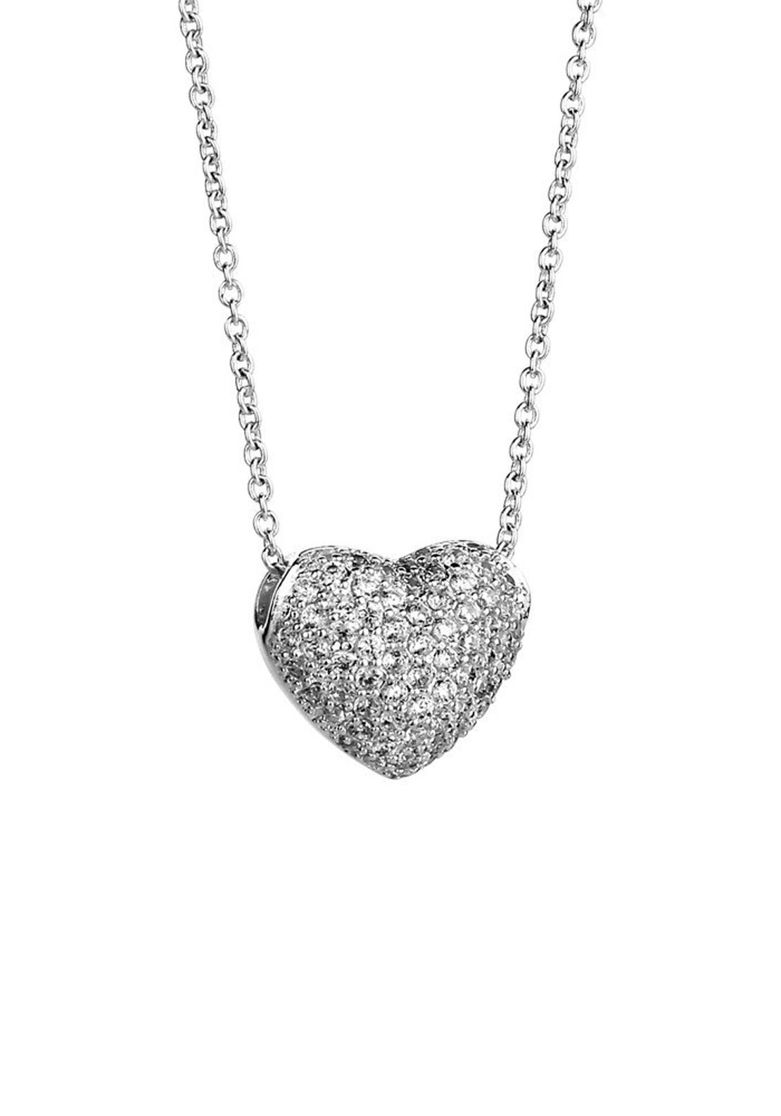 Newbridge Clear Stone Heart Necklace, Silver