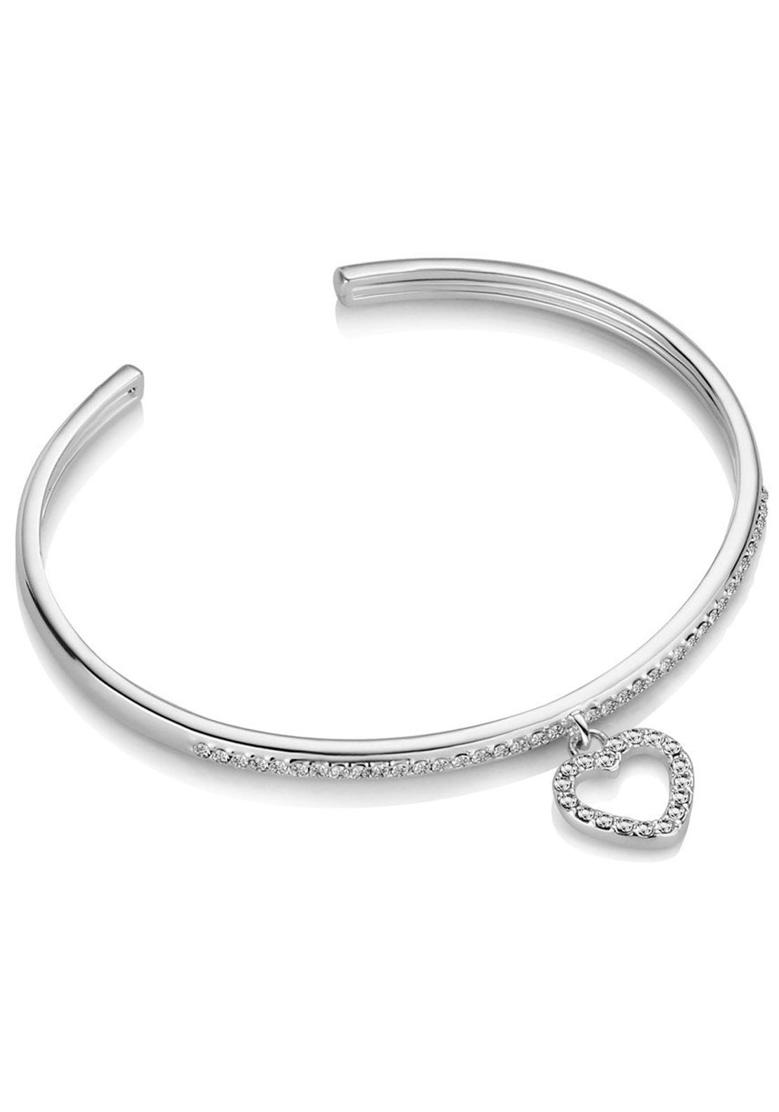Newbridge Clear Stone Heart Bangle, Silver