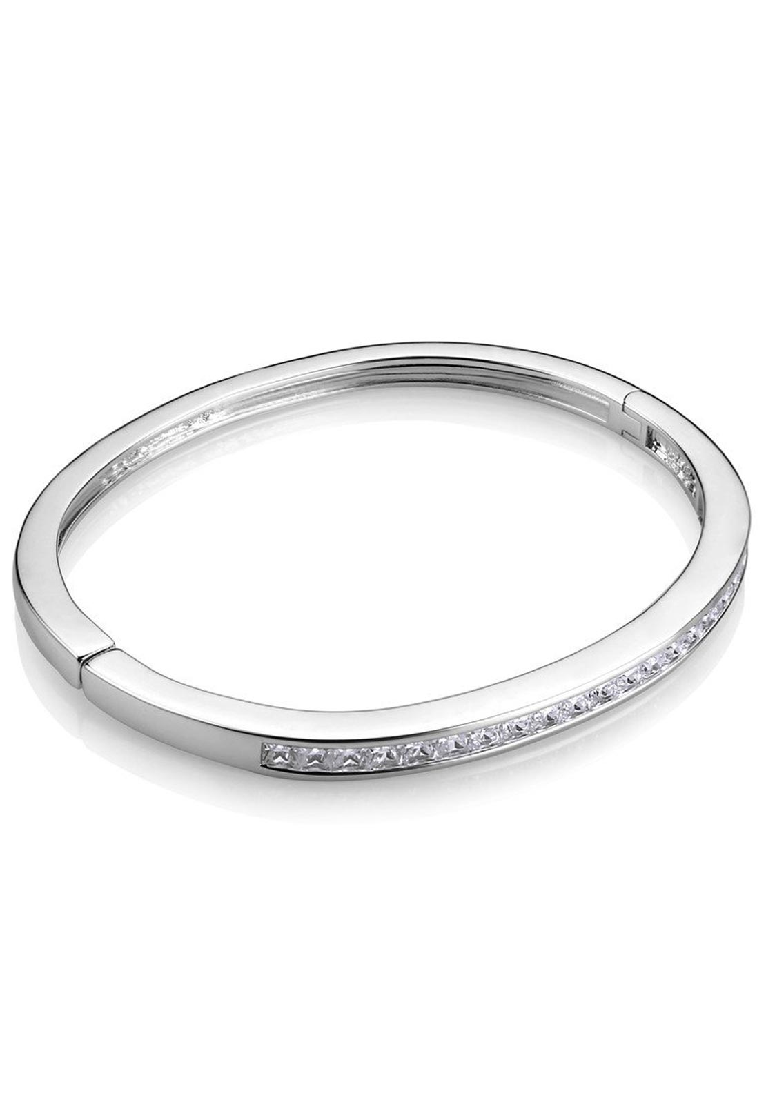 Newbridge Clear Stone Bangle, Silver