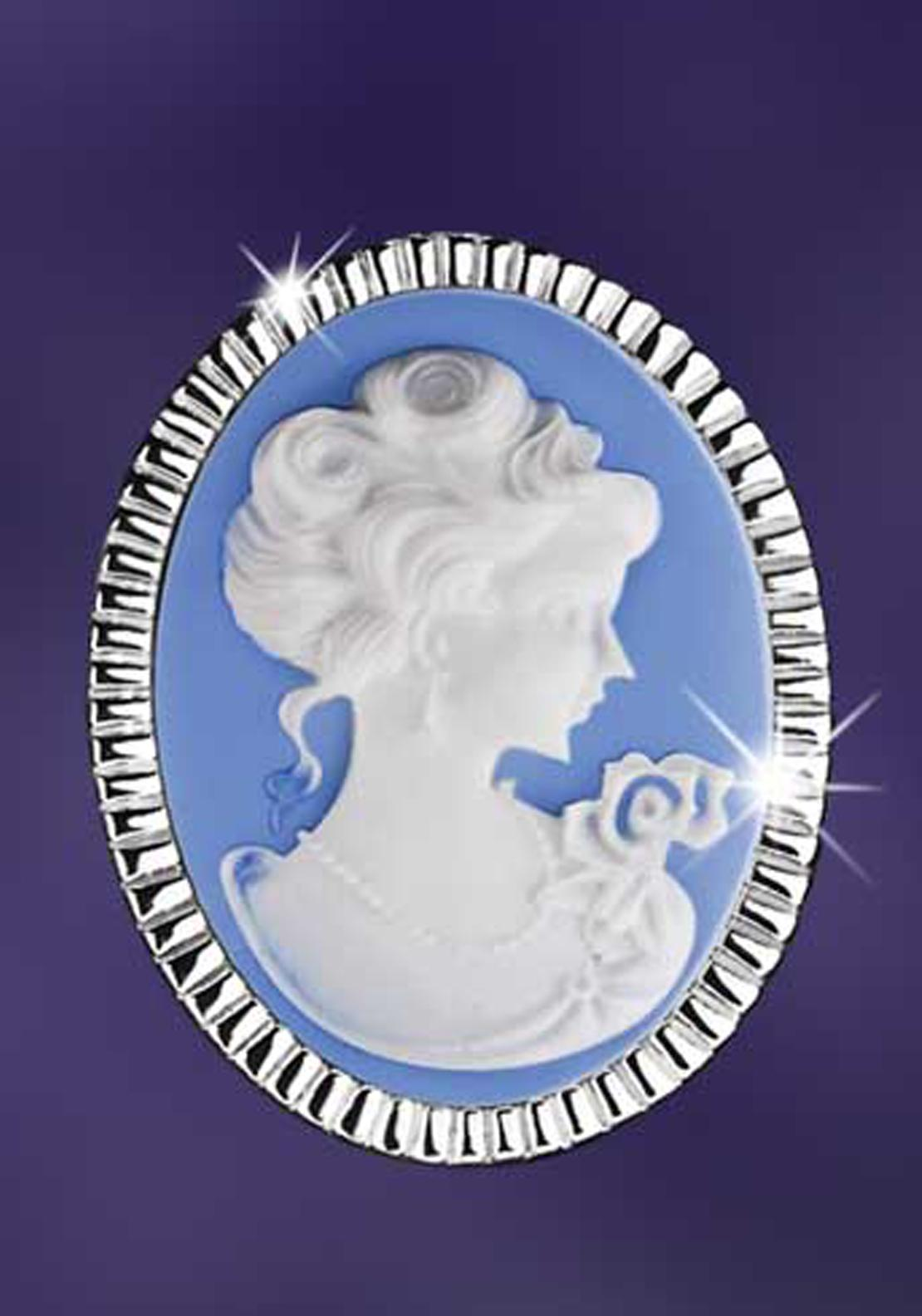 Newbridge Vintage Cameo Brooch, Silver / Blue