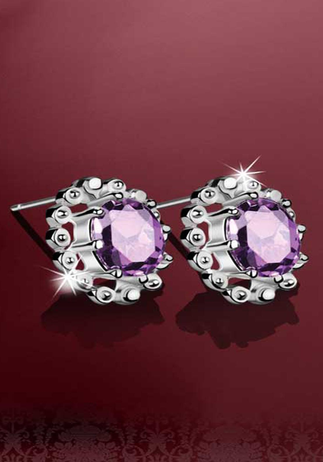 Newbridge Vintage Round Stones Earrings, Silver / Purple
