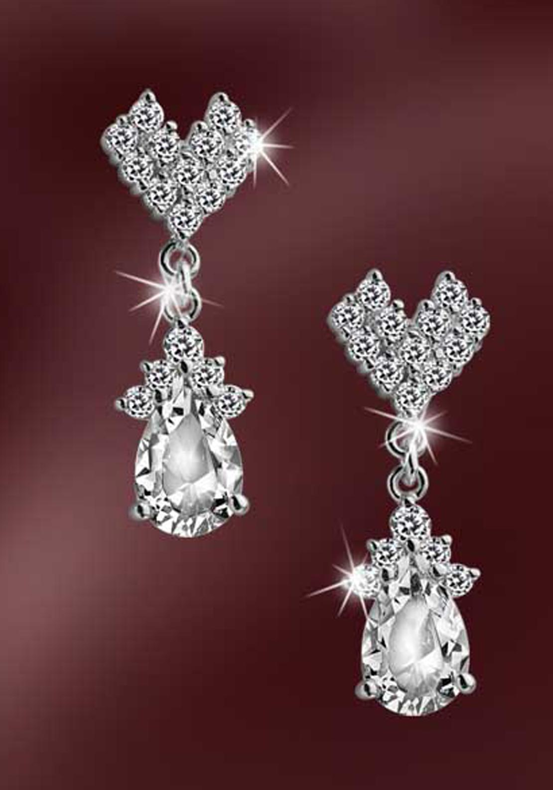 Newbridge Vintage Earrings, Silver / Clear