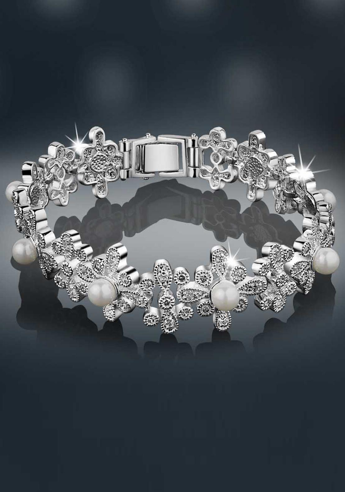 Newbridge Princess Grace Collection Floral Bracelet, Pearl