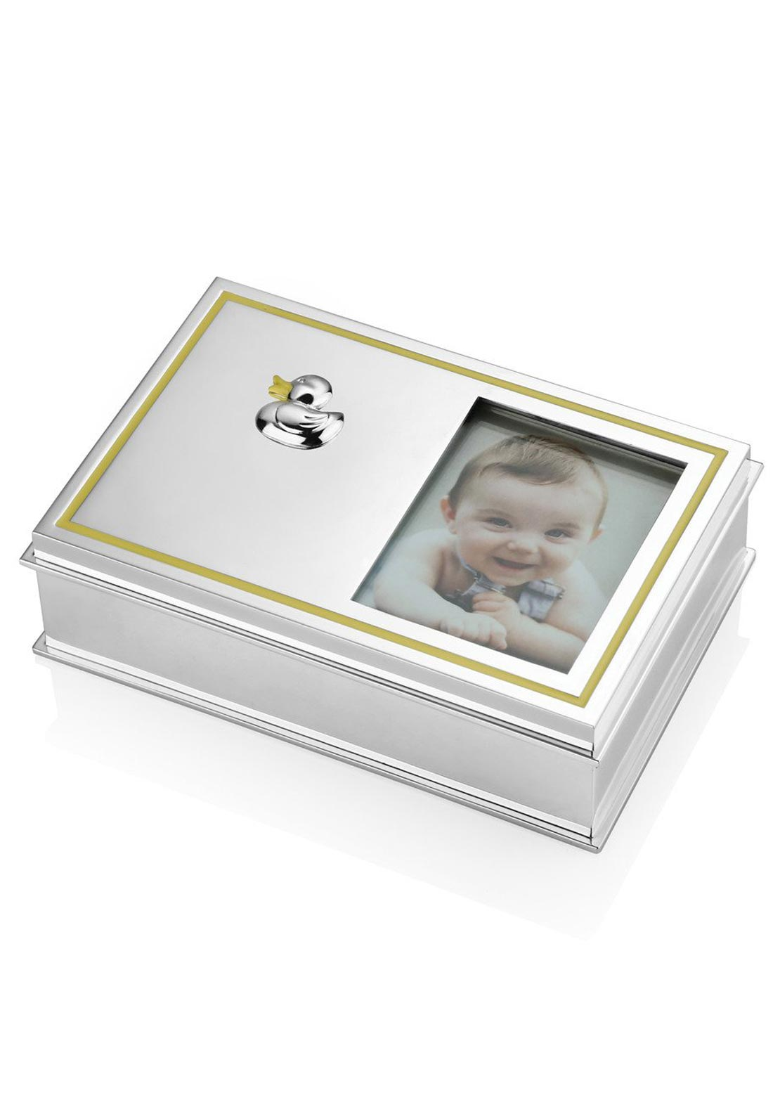 Newbridge Duck Keepsake Box with Frame, Silver