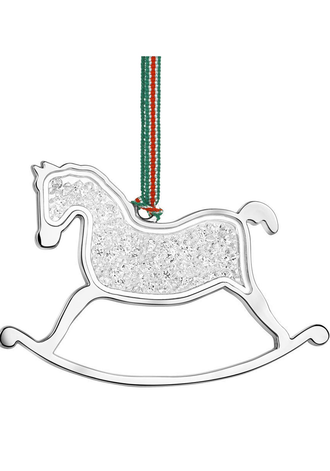 Newbridge Christmas Rocking Horse with Clear Stones Hanging Decoration